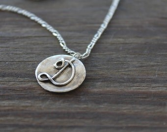 Sterling Silver Initial Pendant, Initial Necklace, Sterling Monogram Necklace, Monogram Necklace, Handmade Monogram Necklace