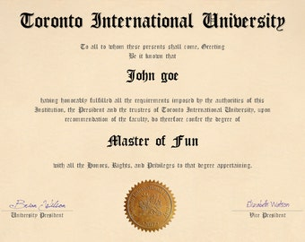 Customize Your Own Fake Diploma Name,university,date,degree and signature, instant download, printable