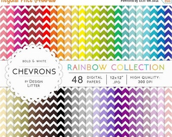 80% Until New Year - SALE Chevrons digital papers · 48 rainbow chevrons sheets bold and white chevrons backgrounds chevrons for scrapbooking