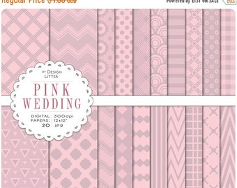 80% Until New Year - Pink digital papers · vintage wedding pastel pink lavender bridal patterns and confetti for scrapbooking · Instant down