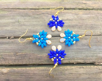 Mat blue earrings, Blue beaded earrings, Wedding earrings, Superduo earrings, Gift for her, Triangle earrings, Elegant earrings