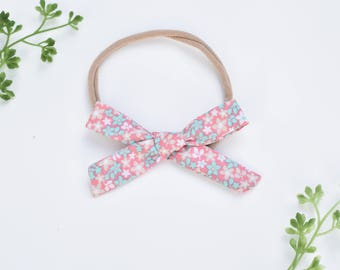 Floral Tie Bow, Headband, Floral Fabric