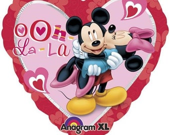 Mickey and Minnie Mouse Heart Balloon- Valentine Balloon- Love Balloon- Disney Balloon