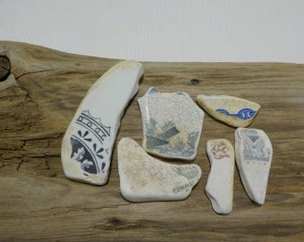 Sea Pottery  -Set of 6 pieces - Beach Pottery Shards - Beach finds - Old Patterned Beach Pottery # 29
