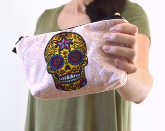 "Mexican Skull Art Zippered Cosmetic Bag, Sugar Skull Make-up Bag, Toiletry Bag, Organizer Pouch - 8"" x 5.5"""