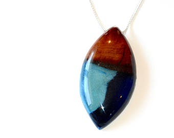 """Resin Wood Jewelry, Sky Blue & Turquoise Pendant, 24"""" Silver Plated Chain Necklace"""