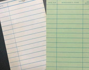 Vintage BLANK Library Checkout Cards