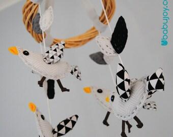 Baby mobile Nursery Birds - Cute birds mobile - Nursery decor - Handmade mobile - Baby gift - Baby crib mobile