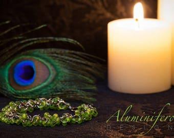 Lime Green : Gunmetal Double Shaggy Bracelet