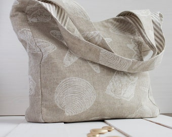Neutral Linen two-color  Bag with sea drawing. Beach Bag