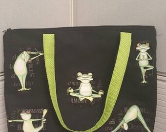 Super Cute Handmade Yoga Frogs Tote Bag