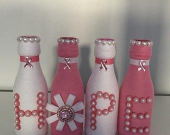 Breast Cancer Awareness HOPE Bottles, Cancer HOPE Bottles, Cancer Wine Bottles, Cancer Awareness Wine Bottles