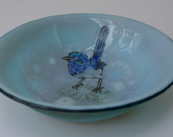 Australian Blue Wren - soup bowl #1023