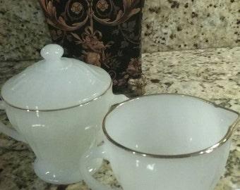 Vintage Milk glass  Sugar and  Creamer Set