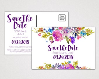 Garden Save the Date Postcard Printable Template: A Purple Engagement Announcement Card, DIY Digital Instant Download Editable PDF K003