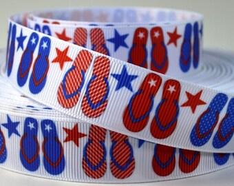 "7/8"" Patriotic Red,and Blue Flip Flops & Stars on White Grosgrain Ribbon"