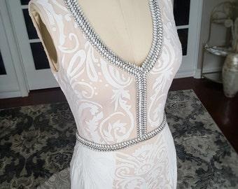 Unique Art Deco Wedding Dress with Open Back Low Cut Neckline and small train, beaded wedding dress, wedding dresses, simply elegant