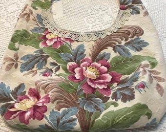 Handmade vintage 1940s diamond weave turquoise & pink rose floral barkcloth hobo handbag