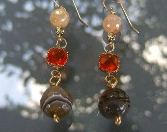 Fire Agate earrings , Dangle  errings , Gold filled earrings ,  Fire agat beads , Brown  round stone Agat , Orang crystals ,Agate jewelry,