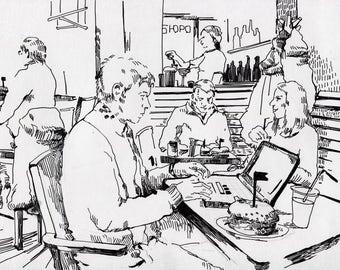 Bar Sketch Original Drawing