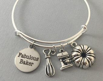 Baker Gift - Gift for Baker - Bake - Charm Bracelet - Bangle Bracelet - Bakers Gonna Bake - Baker Jewelry - Cupcake Jewelry - Valentine Gift