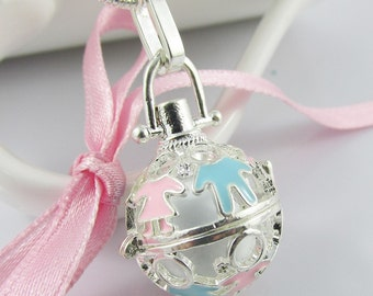 New Mum to be Gift Harmony Ball Cage Pendant Necklace 61cm 925 Snake Chain (DHP004/DHP007/NFS026)