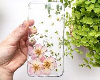 Phone case unique iPhone 8 Plus Blush pink Bride phone case Spring flower case Bouquet iPhone case Handmade phone case  Pretty phone case SE