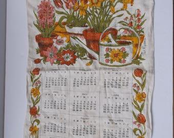 1977 Calander Tea Towel. Kitchen Dish Towel