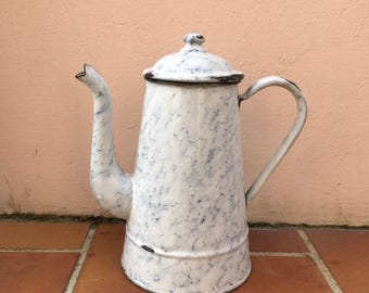 Vintage French Enamelware white blue marbeled Enamel Coffee Pot 1503201726