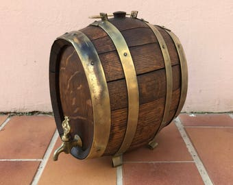 Vintage french wine vinegar barrel wood tiny cute size stamped signed 1204176
