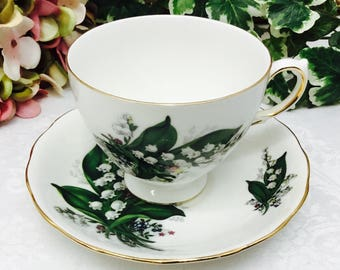 Queen Anne Lily of the valley teacup and saucer.