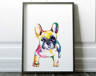 Dog Print, Wall Art Prints, Minimalist Dog Print, French Bulldog Print, Modern Art, Wall Prints, Minimalist Dog Art, Watercolour Dog Print