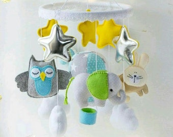 felt mobile mobility decor baby crib toys developing sense of identity felt mobile mobile animals Baby Mobile Unique Gift Unique Gift Modern