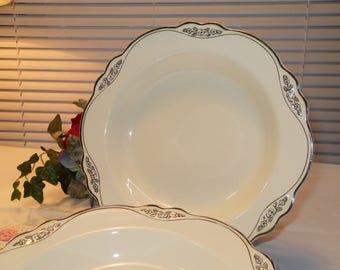 Vintage Soup Plates 2 Elegant Homer Laughlin Virginia Rose Platinum Roses 1935
