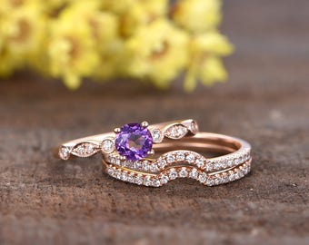 5mm VS natural amethyst engagement ring set,3pcs bridal rings,Milgrain diamond wedding band,Curved half eternity diamond band,14k rose gold