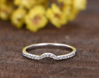 Curved U diamond wedding band,solid 14K white gold ring half eternity matching band,Petite micro pave bridal promise ring,SI-H diamond