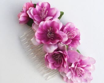 Cherry Blossom Hair Comb, Pink Flower Fascinator, Pink Hair Comb, Wedding Hair Comb, Blossom Hair Flower, Pin Up Hair Comb, Bride Fascinator
