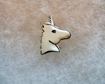 Unicorn (version 1) Jewelry Pin - handcarved and handpainted