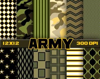 Army digital paper, scrapbook, background
