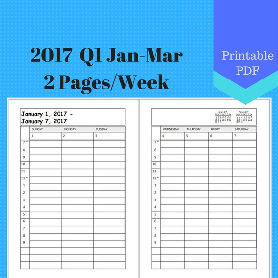 2017 January to March, 2 Page Per Week, Q1 Monthly Calendar Pages, Planner, Discbound, Jr, Half