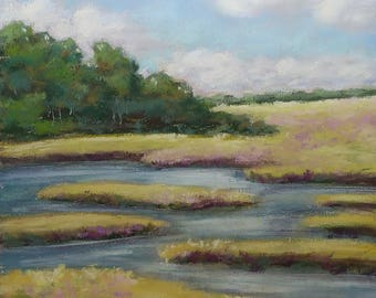 Summer Marsh original pastel painting