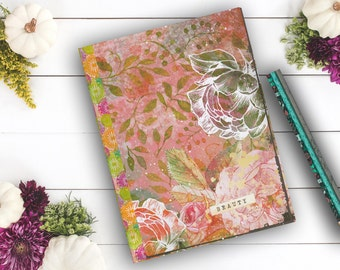Beauty Rose Diary, personal diary, custom notebook, girl's diary, Gifts under 10, travel journal Notebook, back to school
