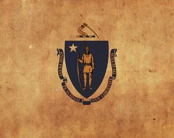 Vintage Massachusetts Flag on Canvas, Massachusetts Flag, Wall Art, Massachusetts Photo, Massachusetts Print, Single or Multiple Panels