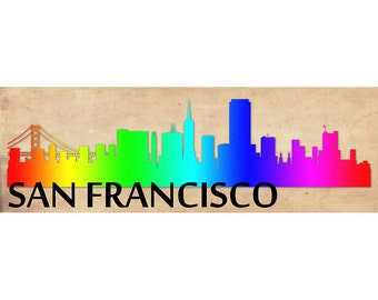 San Francisco Skyline, San Francisco Skyline Printed on Canvas, City of San Francisco, Large San Francisco, 3 Panel, Rainbow Wall Art Canvas