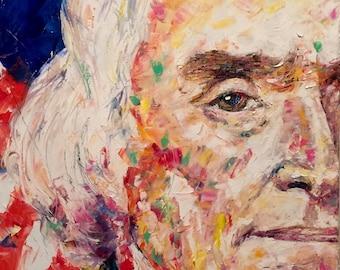Thomas Jefferson Painting Original Oil Portrait Jefferson Art American President American Flag Painting Thomas Jefferson Portrait On Canvas
