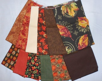 Autumn/Fall Fat Quarter Bundle 12pc. -brown/rust/orange/green/metallic/red   (#O161)