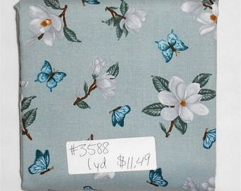 Fabric - 1yd piece- Floral with Blue Butterflies on Sage Green -Blossom Vine  (#3588) Blank Quilting BOLOSVI-B-8277-60