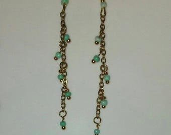 Delicate Gold Dangles with Tiny Turquoise Seed beads