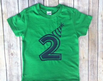 Boys Birthday shirt, birthday tshirt, 2nd birthday, 1st birthday, 3rd birthday, green and navy, birthday hat
