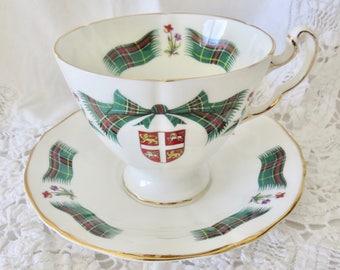 Royal Adderley Fine Bone China Footed Teacup and Saucer Newfoundland Tartan
